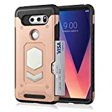 LG V30 Wallet Case, Slim Armor Shockproof Heavy Duty Protection Dual Layer TPU&PC Hybrid Case Cover with Card Slot Car Mount Holder Thin Case for LG V30 (4)
