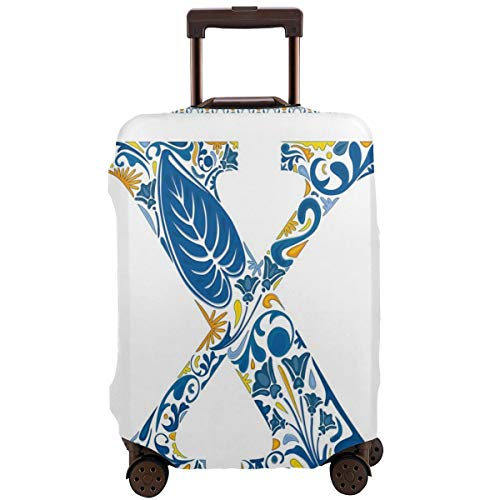 Travel Luggage Cover,Nature Inspired Arrangement Flowers Leaves European Style Letter Suitcase Protector