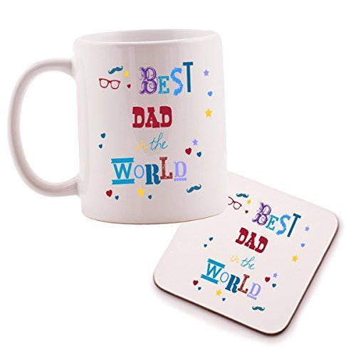 "Price comparison product image Inscription ""Best Dad In The World Tasse et dessous de verre Motif Great Father's Day idéal cadeau anniversaire ou pour un Papa."