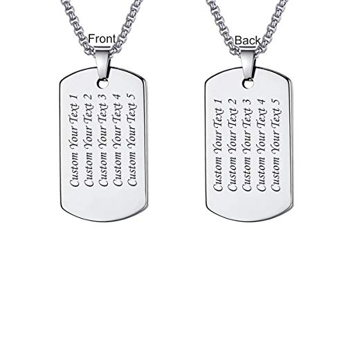 LMXXV 27×53 Free Custom Men's Traditional Military Style Dog Tag Tungsten Carbide Pendant Neckalce,Birthday Gift for Him