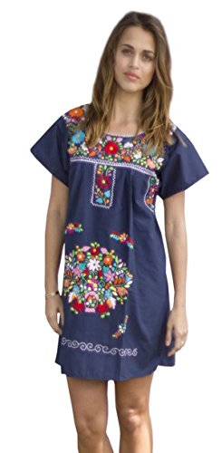 Liliana Cruz Embroidered Mexican Peasant Mini Dress (Navy size ()