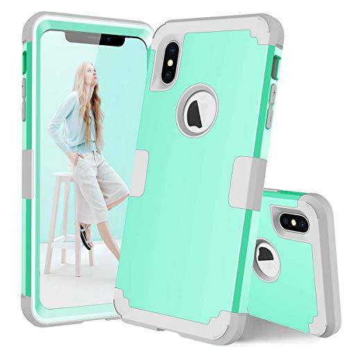 Landing Mint - iPhone Xs Max 6.5 inch Full Body case, PIXIU Three Layer Heavy Duty Shockproof Protective Hybrid Rubber case for iPhone Xs Max 6.5 inch 2018 Released Mint Green