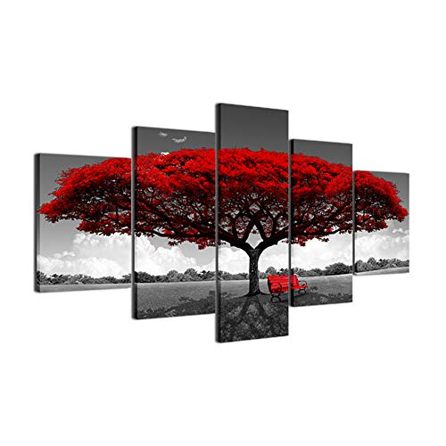 lightclub 5Pcs/Set Red Tree Chair Wall Painting Picture Frameless Poster Living Room Decor Size 1 -