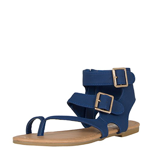 Bella Marie Womens Open Toe Thong Double Buckle Zip Cuff Flat Gladiator Sandal Flip Flops Royal Blue 51M8TWq