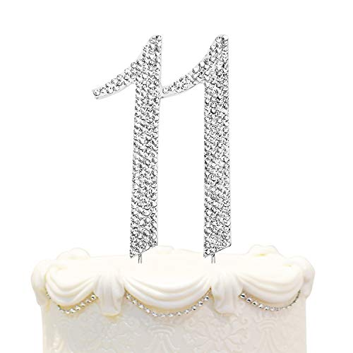 Hatcher lee Bling Crystal Rhinestone 11 Birthday Cake Topper - Best Keepsake   11th Party Decorations Silver