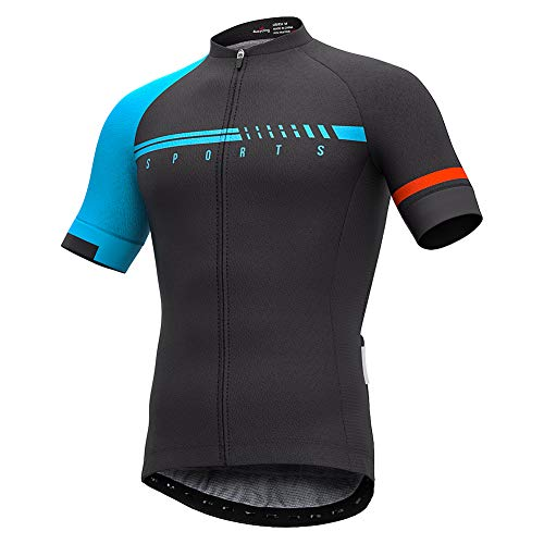 (Men's Short Sleeve Cycling Jersey Full Zip Moisture Wicking, Breathable Running Top - Bike Shirt (Blue&Black, US Size M) )