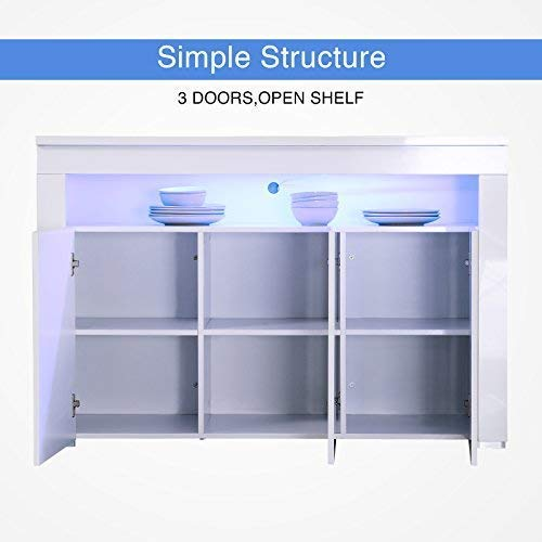 Mecor Kitchen Buffet Cabinet,High Gloss LED Sideboard,Storage Server Table with 3 Doors and Open Topper Shelf,White by Mecor (Image #2)