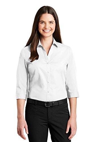 Port Authority Womens 3/4-Sleeve Carefree Poplin Shirt (LW102) -White -3XL - Poplin 3/4 Sleeve Shirt