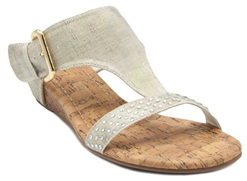 London Fog Women's Sundance T-Bar Cork Wedge Dress Sandal with Buckle Closure Gold 7 (Wedge T-bar Sandals)
