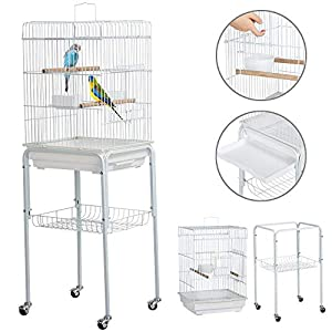 "Yaheetech 47"" Small Rolling Bird Cage with Detachable Stand"