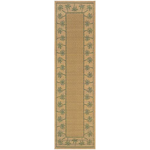 AB 2'3 x 7'6 Tan Green Tropical Theme Runner Rug Rectangle, Brown Beige Beach Themed Hallway Carpet Coastal Nautical Palm Tree Pattern Floor Cover Summer Lake House Cottage, Polypropylene