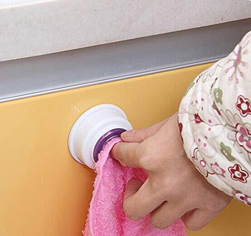 MOVEmen Hook Self Adhesive Push in Type Kitchen Dishcloth Bathroom Tea Towel Grip Holder 1pc Kitchen Dish Cloth Clip Creative Rag Small Clip Towel Hook PVC Plastic Glue Wash Towel Drying Rack (D) by MOVEmen (Image #3)