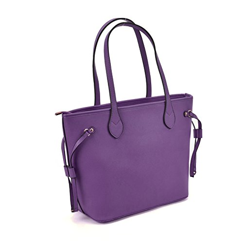 Metal Fashion Quality YOUNG Purple Leather Tote High PU Women SALLY Detail With Bag RqBwvx5