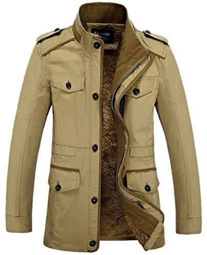 Men's Jacket Outwear Outerwear Parka Winterparka Warm Quilted Hooded Apparel Coat Winter Jacket Outerwear Winter Coat Khaki Jacket 08 with qEtwEBr