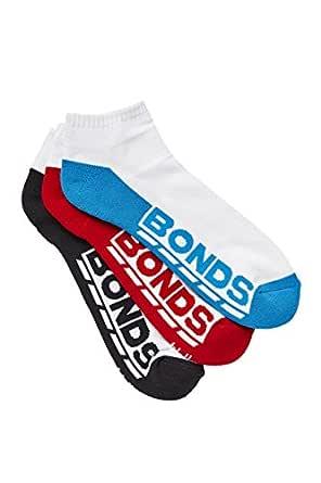 Bonds Men's Cotton Blend Logo Low Cut Sport Socks (3 Pack), Assorted 1, 11+