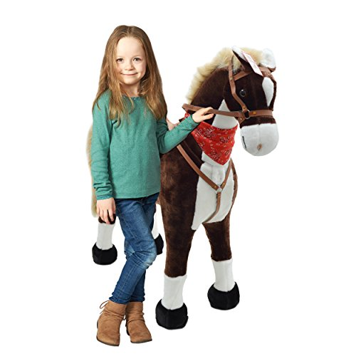Pink Papaya Plüschpferd XXL, Max, fast lebensgroßes Riesenpferd 105cm, Stehpferd, Spielzeug Pferd bis 100 kg belastbar - Kinderpferd mit kleiner Bürste - Farbe: braun/hellbraune Mähne