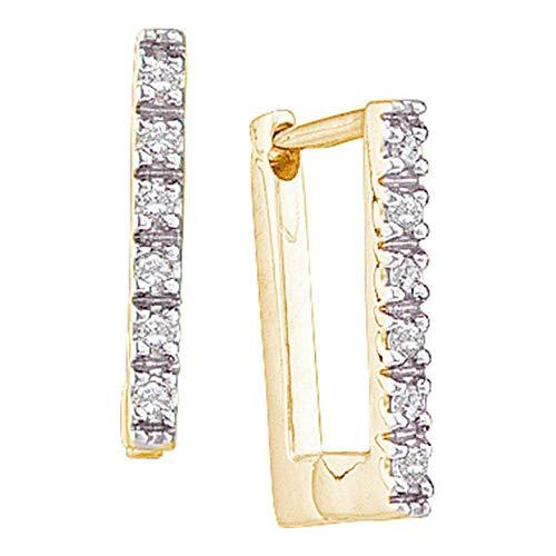 14kt Yellow Gold Womens Round Diamond Rectangle Huggie Hoop Earrings 1/20 ()