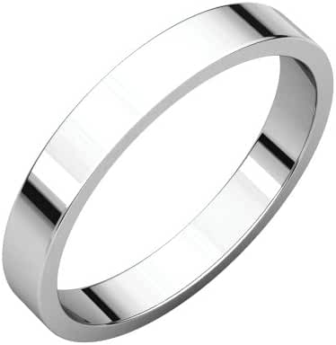 Platinum 3mm Flat Band, Ring Size 5