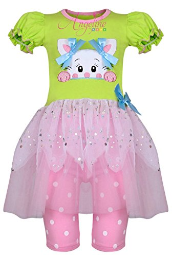 Boutique Clothing Girls Easter Bunny Lime Pink Tutu Skirt Set Capri Set 5/XL