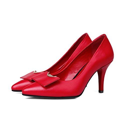 Minivog Mujeres Pointed Toe High Heels Pump Shoe Red