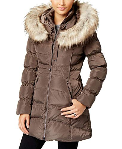 Coat Laundry Quilted (Laundry by Shelli Segal Womens Quilted Down Coat, L, Brown)