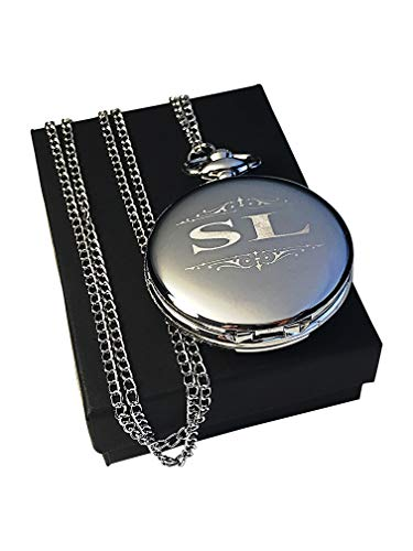 Engraved Pocket Watch - Wedding Groomsmen Personalized Unique Gifts - Chain, Box and Engraving All Included (Silver)