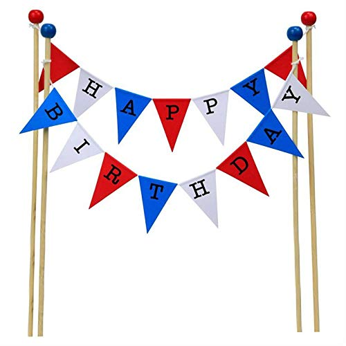 (amazing buntings, Happy Birthday Cake Topper Bunting Decoration in Blue, Red and White, Large Flags, Adjustable Length)