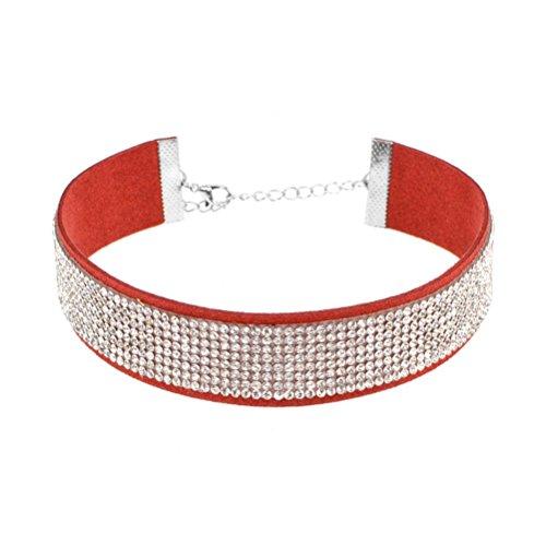 Red Velvet Rhinestone (Sanwood Lady's women's Adjustable Punk Rhinestone Velvet Choker Collar Necklace Cocktail Charm Jewelry Gift (Red + White))