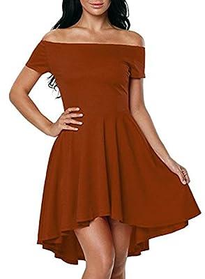 HUSKARY Women Off The Shoulder Sleeve High Low Flared Swing Cocktail Skater Dress