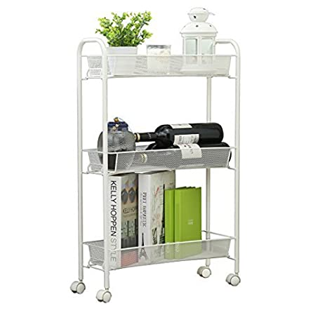 Merveilleux Creatwo Slim Rolling Cart 3 Tier Metal Kitchen Cart Narrow Slide Out  Storage Tower On Wheels