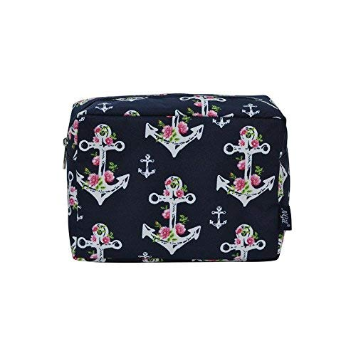 (NGIL Large Travel Cosmetic Pouch Bag Spring 2018 Collection (Rose Anchor Navy Blue))