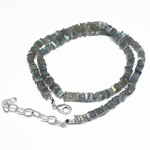 Natural Faceted 8mm India Black Gray Labradorite Gems Round Necklace 18/'/'