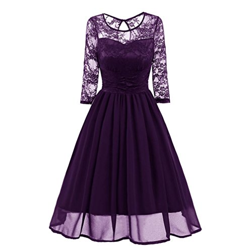 Women's Vintage Floral Lace 3/4 Sleeve Round Neck A-line Cocktail Party Swing Dress (Purple, L) by Elogoog