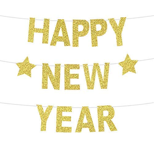 Happy New Year Glitter Banner - Real Glitter Star NYE Banner Gold Paper Glitter | Hanging Banner Sign | New Years Eve Party Supplies 2019 | NYE Decorations 2019 | New Year Decorations No DIY Required -
