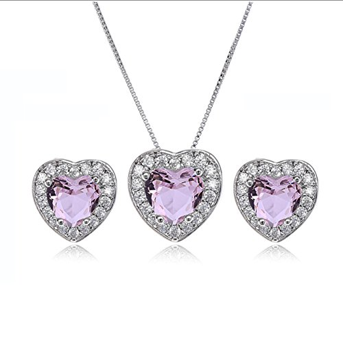 - AMYJANE Crystal Jewelry Set for Women - Bridesmaids Gift Sterling Silver Small Heart Shaped Pink Cubic Zirconia Elegant Bridal Pendant Necklace Dangle Earrings Set for Girls