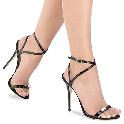 Negro Tacones 35 Tamaño Tobillo Altos Trabajo Peep Verano Tacón Vestido Sandalias Fiesta Correas Zapatos Hn Shoes Mujer Diamante Alto Boda 46 De Toe 8q17Xp