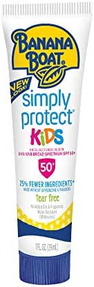 Banana Boat Sunscreen Simply Protect Kids Tear Free, Broad Spectrum Mineral Sunscreen Lotion, TSA Approved Size, SPF 50+, 1 Ounce