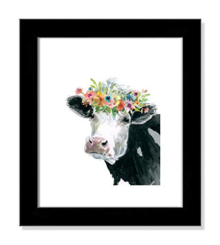 Casa Fine Arts Flower Crown Cow Farm Animal Wall Art Archival Watercolor Print, 12