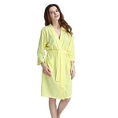 Zhahender Winter Women Girls Bathrobes Beauty Salon Hotel Pajamas (Color : Yellow, Size : M) Leg Warmers