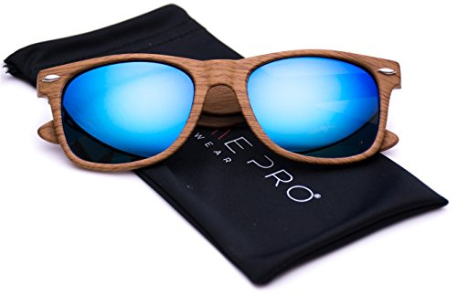 Faux Wood Reflective Revo Color Lens Horn Rimmed Style Sunglasses