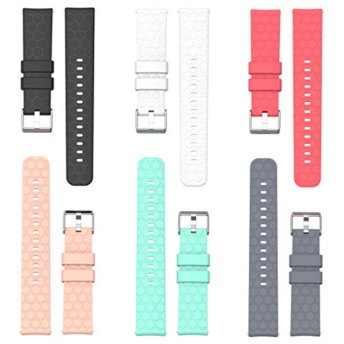 RuenTech for Garmin Vivomove Bands, Replacement Silicone Watch Band (20mm Width) Bracelet Straps for Garmin Vivomove HR and Garmin Vivomove Premium/Classic/Sport Smartwatch (6-Pack)