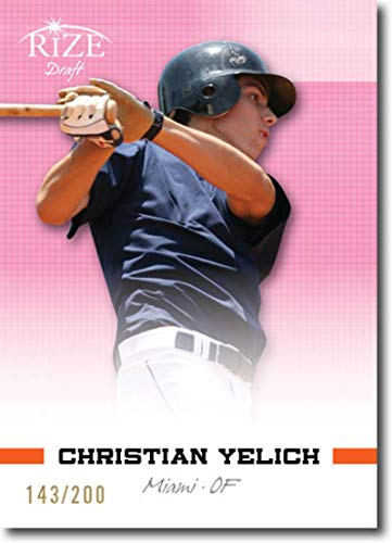2012 Leaf Rize Draft Pink #98 Christian Yelich Marlins Prospect (Rookie Parallel / 1st Round Pick) MLB Baseball Card /200 NM-MT