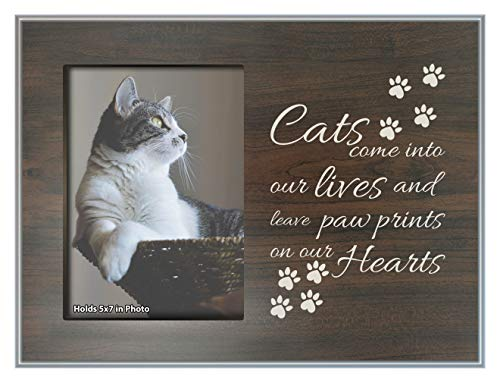 ThisWear Cat Loss Gifts Paw Prints on Our Hearts Cat Memorial Plaque Wood Photo Plaque Picture Frame Wood ()