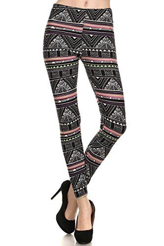 Always Women's High Waisted Aztec Pyramid Printed Leggings - Pink