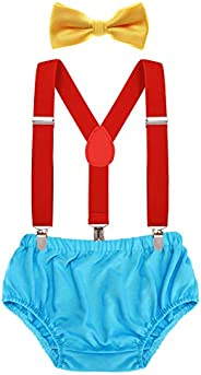 AWAYTR Toddler Boys Cake Smash Outfit - First Birthday Party Christmas Elastic Suspenders Bowtie Bloomers Set
