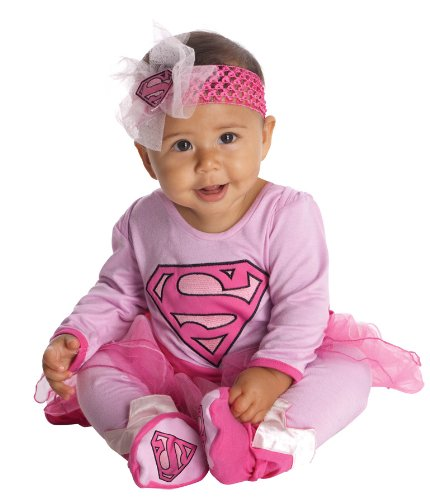 Superman Newborn Costumes (DC Comics Supergirl Onesie And Headpiece, Pink, 0-6 Months)