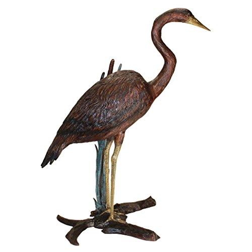 Design Toscano Standing Heron in Reeds Cast Bronze Garden Statue