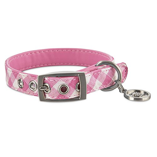 Bond & Co. Pink Gingham Small Dog Collar, XXS, XX-Small