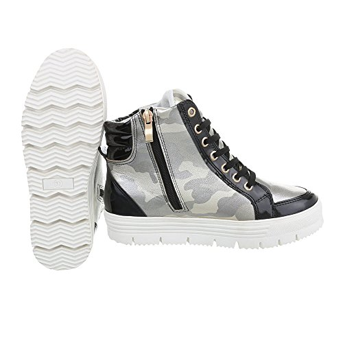 argento piatto Scarpe Design Sneakers Ital donna low Sneaker F151 nero da UUxqZz6wta