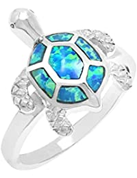 Sterling Silver Turtle Ring with Simulated Blue Opal Shell